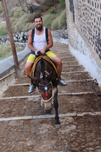 a man on a donkey climbing up the steeps steps in Santorini