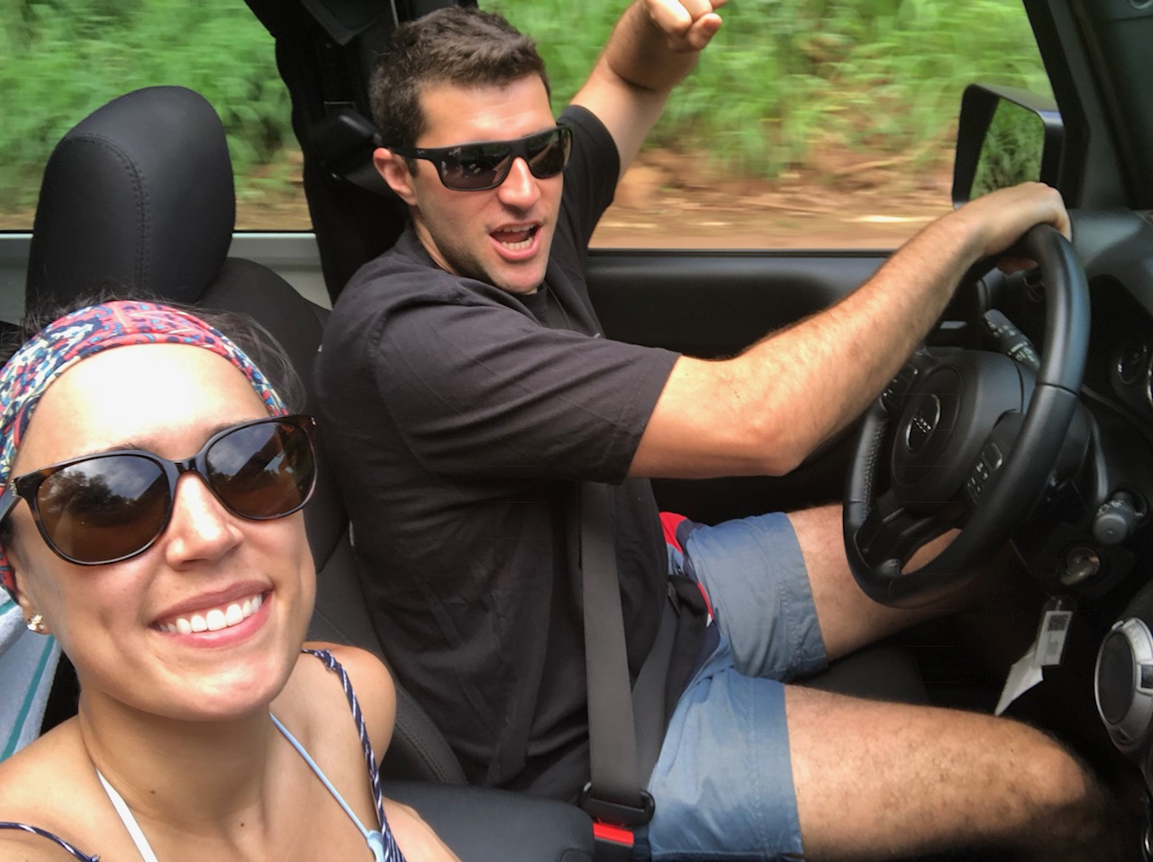 couple driving a jeep in Maui Hawaii