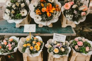 six bouquets of beautiful flowers at the flower market in Nice France
