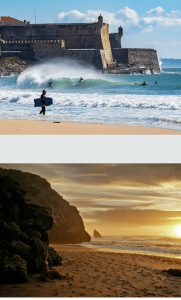 top photo: Carcavelos beach with golden sand and surfers catching waves with a historic castle walls in the background, bottom photo: Adraga golden sand beach with jagged rock formations at sunset in Lisbon Portugal