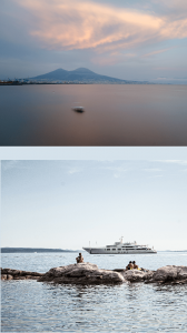 top photo a wide bay with mountains in the distance and the sky at sunset in the bay of Naples, bottom photo people in a bay sitting on rocks with a yacht in the background