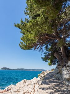 a white stony path to the right of a bright blue sea with green tress overhanging the path in Split Croatia