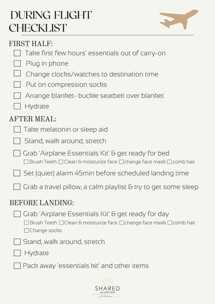 Check list for during a long-haul flights to make it more comfortable