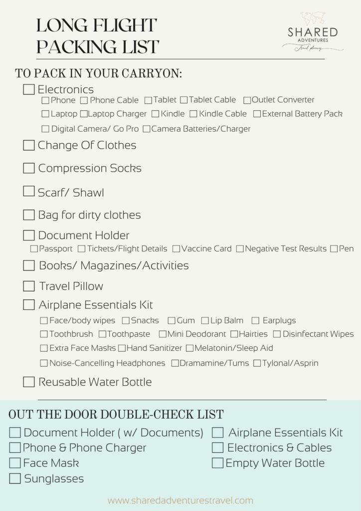 Packing List for Long-Haul Flights